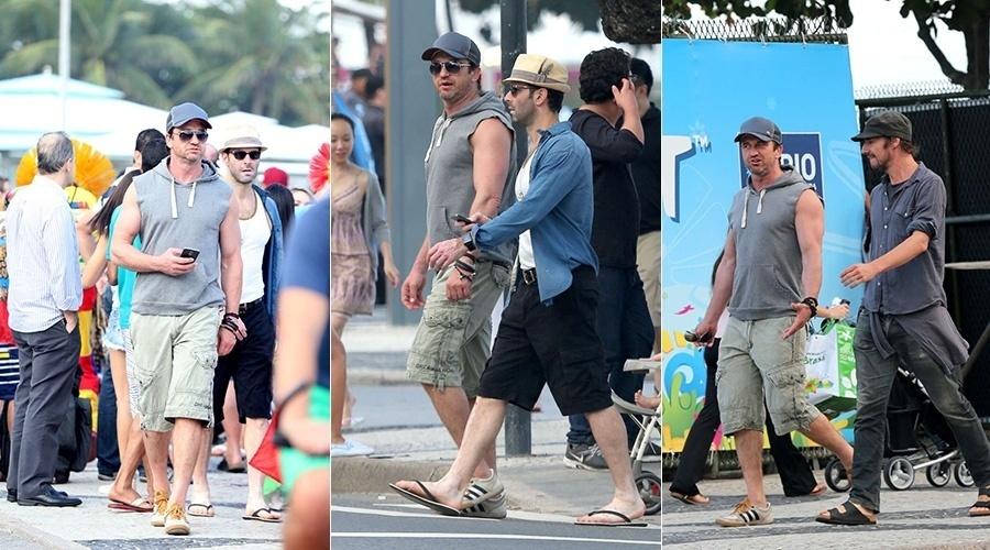 9.jul.2014 - Gerard Butler circulou pela praia de Copacabana, zona sul do Rio. O ator de