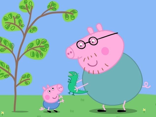 Papai Pig é muito alegre, um pouco trapalhão, está sempre atrás de seus óculos. Bem-humorado, vive sorrindo e adora brincar com os filhos. Ele é comilão, adora biscoitos e torta de abóbora, gosta de ler jornal e viajar de carro