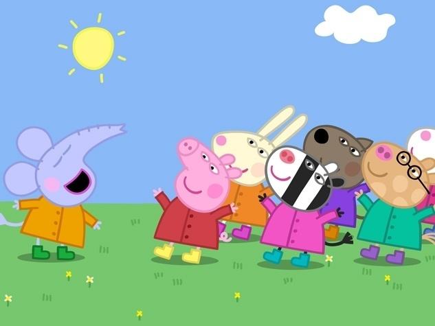 Peppa adora brincar com seus amigos no parque, entre eles, Suzy, a Ovelha, Rebecca, a coelha, Danny, o cachorro, Zoe, a zebra, Pedro, o pônei, Candy, a gata e Emily, a elefanta