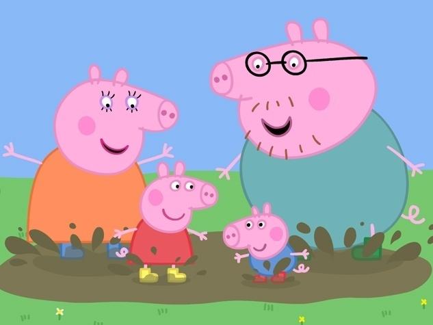 Peppa Pig, George, Mamãe Pig e papai Pig adoram pular em poças de lama. O desenho animado, fenômeno mundial, é transmitido no Brasil no canal infantil Discovery Kids