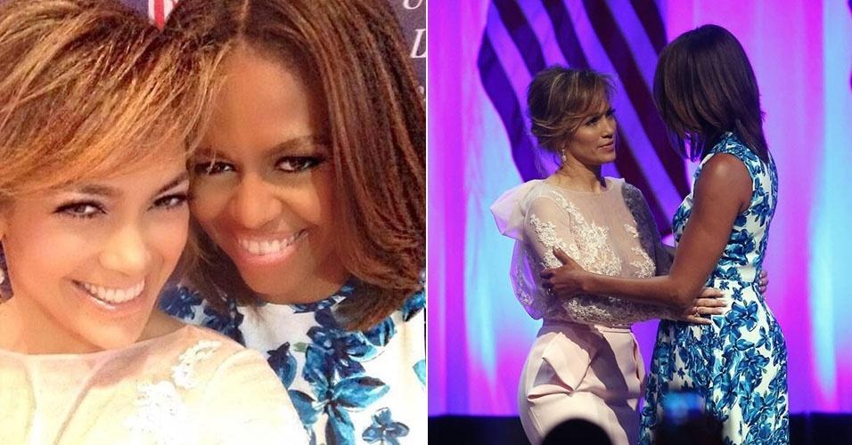 10.jul.2014 - Jennifer Lopez e Michelle Obama participam de evento que combate a discriminação de latinos nos Estados Unidos