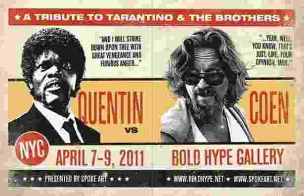 Cartaz da exposição Quentin vs. Coen de 2011 - Reprodução