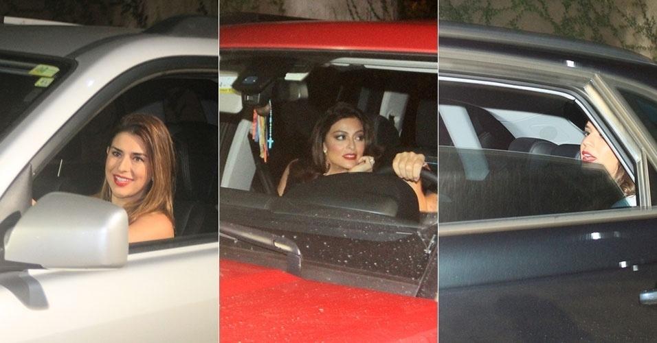 12.jul.2014 - Fernanda Paes Leme, Juliana Paes e Bruna Marquezine chegam ao condomínio de Luciano Huck, no Joá, no Rio, para jantar na casa do apresentador