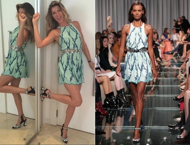13.jul.2014 - Gisele Bündchen usa vestido curtíssimo da Louis Vuitton para abrir baú da taça - Reprodução/Instagram/@giseleofficial/AFP