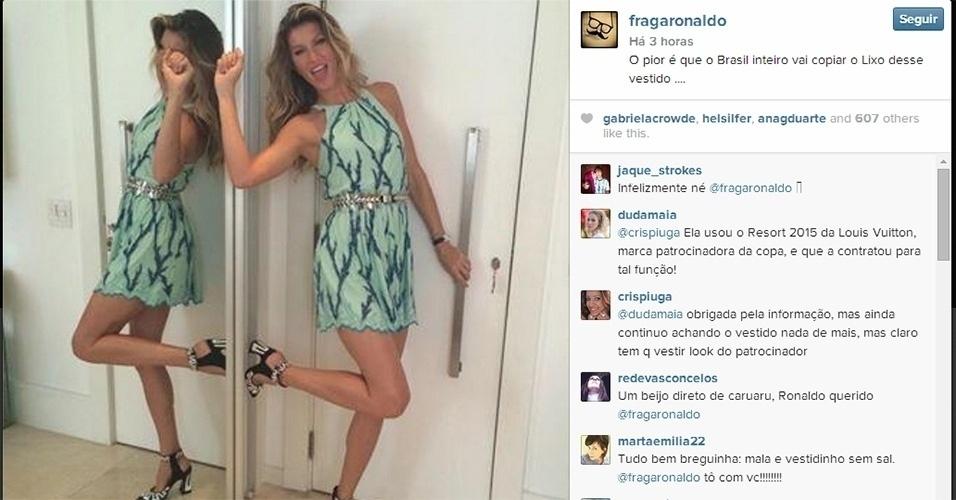 13.jul.2014 - Ronaldo Fraga detonou o vestido escolhido por Gisele Bündchen na fina da Copa do Mundo. No Instagram,