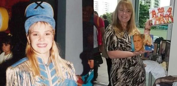 Ana Paula Almeida , à esquerda, quando era paquita no fim dos anos 80 e, à direita, em foto atual