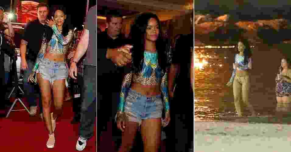 Rihanna esteve no Rio de Janeiro neste final de semana para acompanhar a final da Copa do Mundo. Ela foi vista saindo do hotel e nadando na praia da Urca com um biquíni estampado com top de mangas longas de marca brasileira. A seguir, veja onde encontrar as peças e opções semelhantes para copiar o look da cantora - Agnews