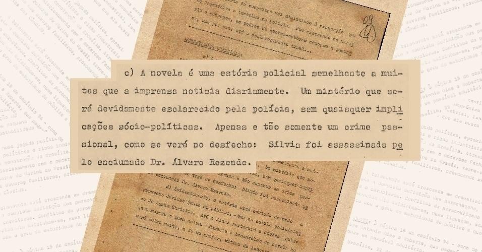 """Adendo da sinopse da novela """"O Rebu"""", de 1974, em que Daniel Filho, então diretor de criação da Globo, explica que a novela não tem quaisquer implicações sócio-políticas e aponta o assassino"""