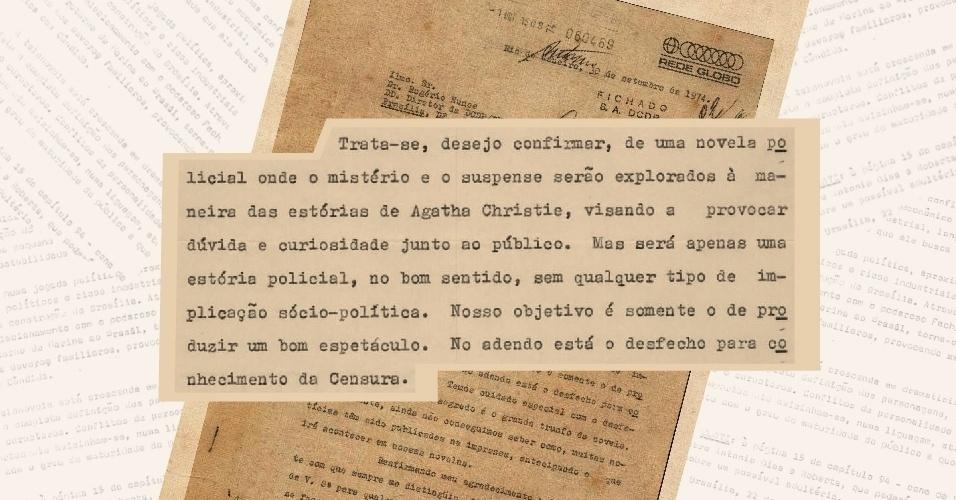 """Carta redigida por Daniel Filho e direcionada à censura que visava esclarecer que a novela """"O Rebu"""", exibida em 1974, era apenas uma trama policial """"nos moldes dos romances de Agatha Christie"""""""