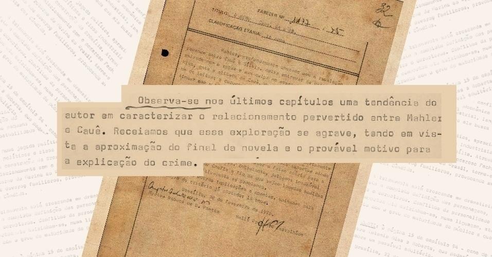 Censores apontam que o autor Bráulio Pedroso passou a deixar cada vez mais claro o relacionamento homossexual entre os personagens Mahler (Ziembinski) e Cauê (Buza Ferraz)