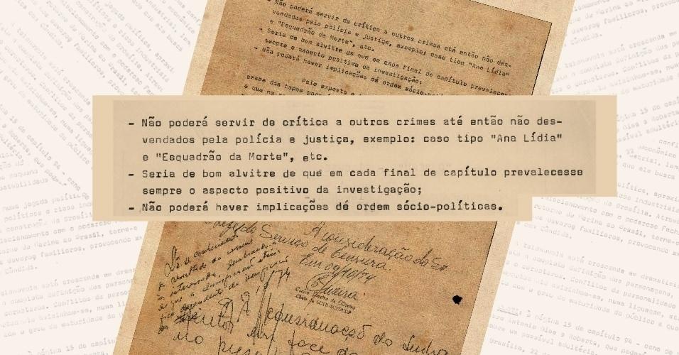 """Censores escrevem, ao fim da sinopse, como o autor de """"O Rebu"""", Bráulio Pedroso, deveria mostrar a polícia e as investigações"""