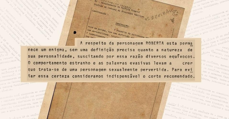 """Censores questionam a personalidade da personagem Roberta na versão original de """"O Rebu"""", a qual chamam de sexualmente pervertida"""