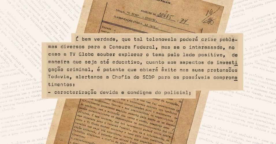 """Parecer da censura à novela """"O Rebu"""" mostra que havia uma preocupação de mostrar que a polícia era eficiente"""