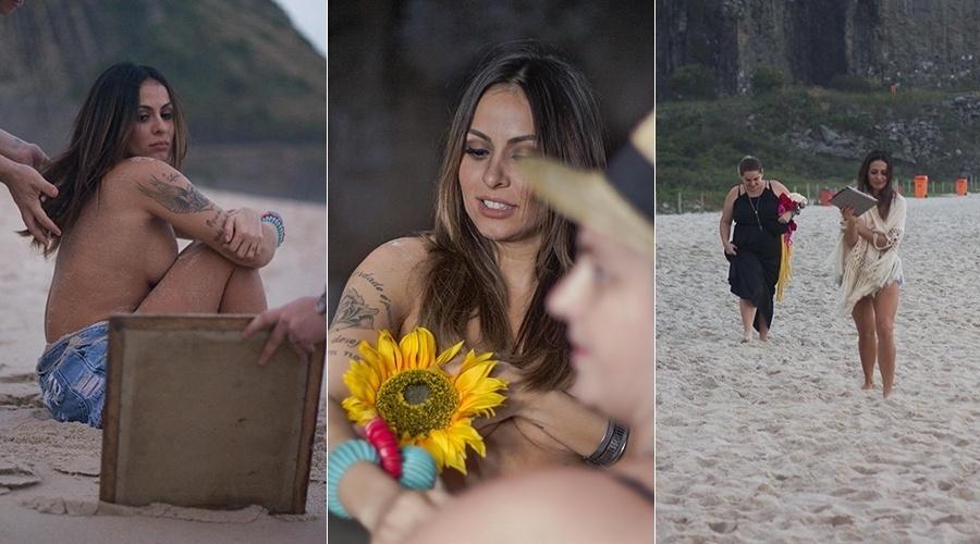 16.jul.2014 - Alinne Rosa faz topless em ensaio na Prainha, no Rio