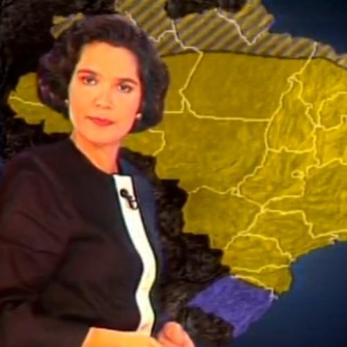 Sandra Annenberg em sua estreia no Jornal Nacional como garota do tempo em 1991