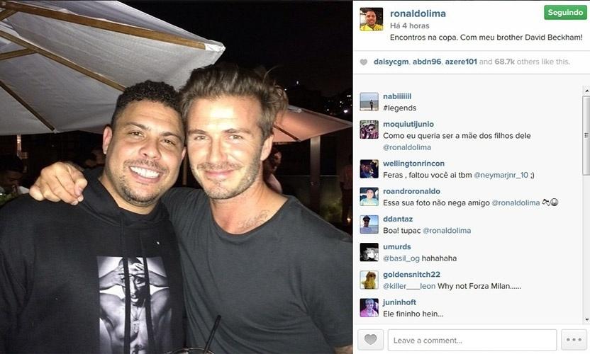 16.jul.2014 - Ronaldo relembrou um encontro com David Beckham na Copa do Mundo e postou uma foto em que aparece ao lado do ex-jogador de futebol de inglês. Ele ainda chamou o colega de
