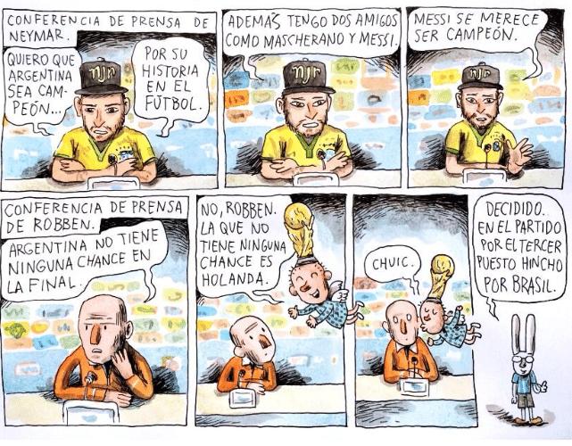 Em entrevista coletiva após a derrota do Brasil para a Alemanha, Neymar declarou torcida por Messi e conquistou a simpatia de Liniers