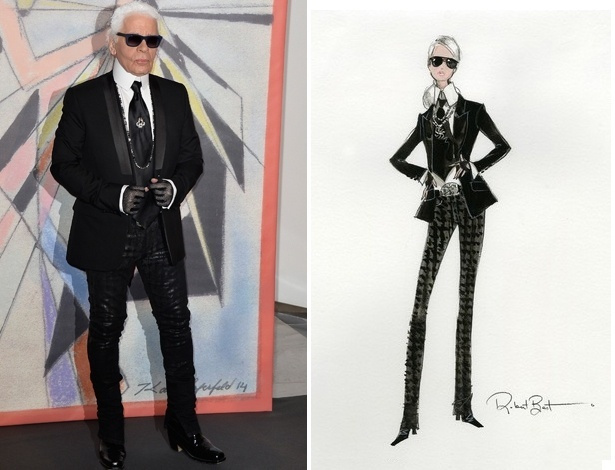 Esboço, à direita, de como será a boneca Barbie inspirada no estilista Karl Lagerfeld - Getty Images/Divulgação/Mattel