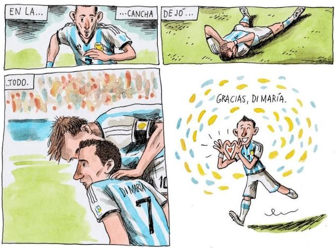 Homenagem de Liniers ao jogador Di María, que se machucou e não pode disputar as últimas partidas pela seleção argentina