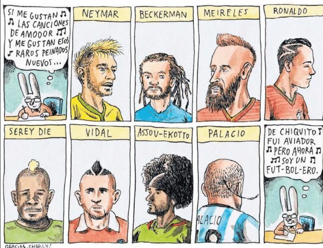 Liniers brinca com os cortes de cabelos exóticos dos jogadores de diversas seleções deste mundial