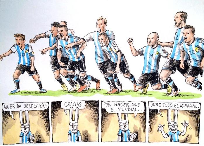 Liniers comemora a classificação da Argentina para a final, após uma trajetória por vezes dramática, com vitórias nos pênaltis e gols nos descontos do juiz