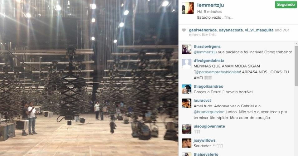 18.jul.2014 - Julia Lemmertz postou foto do estúdio vazio para anunciar o fim das gravações de