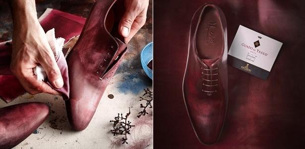 À esquerda, imagem do sapato masculino da Moreschi sendo tingido à mão com vinho e, à direita, o resultado final do processo - Reprodução/Instagram/moreschi_it