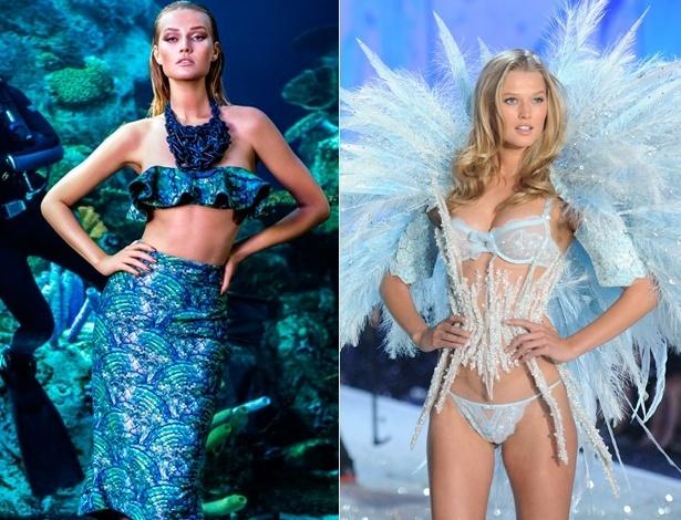 """À esquerda, a modelo Toni Garrn estrela campanha da marca brasileira Água de Coco. Na foto à direita, a top em desfile da Victoria""""s Secret, em novembro de 2013 - Divulgação/Getty Images"""