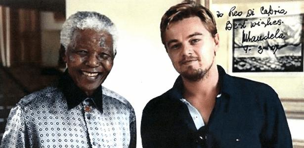 Foto de Nelson Mandela e Leonardo DiCaprio colocada à venda na internet