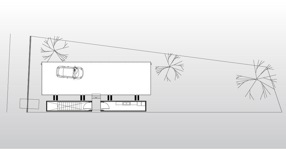 No desenho da House in the Air, no Paraguai, é possível observar os dois blocos de contrapeso que abrigam a escadaria (à esq.) e as dependências de serviço