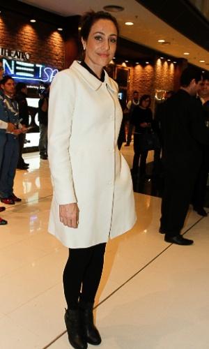 21.jul.2014 - Cynthia Benini chega à inauguração do Theatro NET São Paulo, no Shopping Vila Olímpia