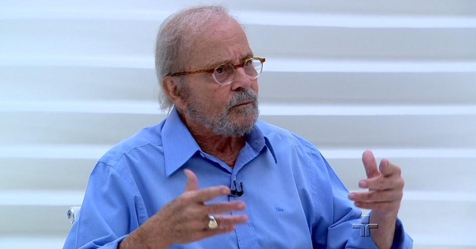 """O jornalista Goulart de Andrade em entrevista no """"Roda Viva"""""""