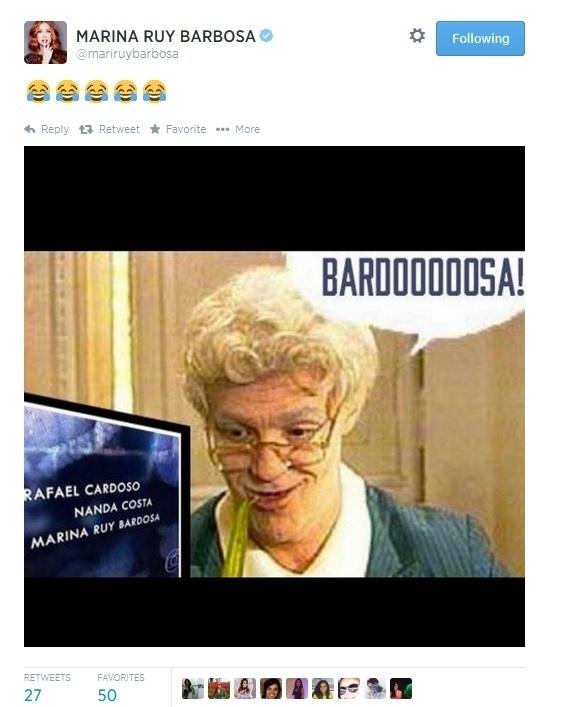 23.jul.2014 - Marina ruy Barbosa faz piada com grafia de seu sobrenome