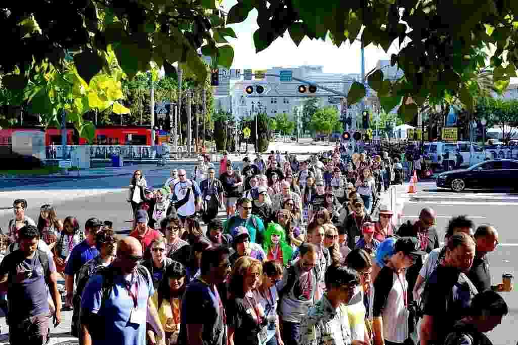 24.jul.2014 - Fãs chegam para o segundo dia da San Diego Comic-Con 2014 - T.J. Kirkpatrick/AFP