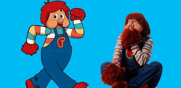 O personagem Fofão na versão desenho e original