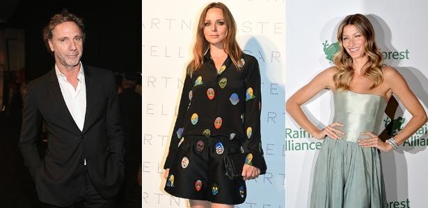 Os estilistas Oskar Metsavaht (à esq.) e Stella McCartney (centro) são ícones da moda sustentável. Já a modelo Gisele Bündchen (à dir.) usou vestido feito à mão e tingido com plantas em evento em Nova York - Getty Images