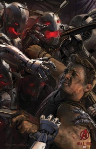 O Gavião Arqueiro (Jeremy Renner) enfrenta um exército de robôs assassinos neste pôster cmo arte conceitual de