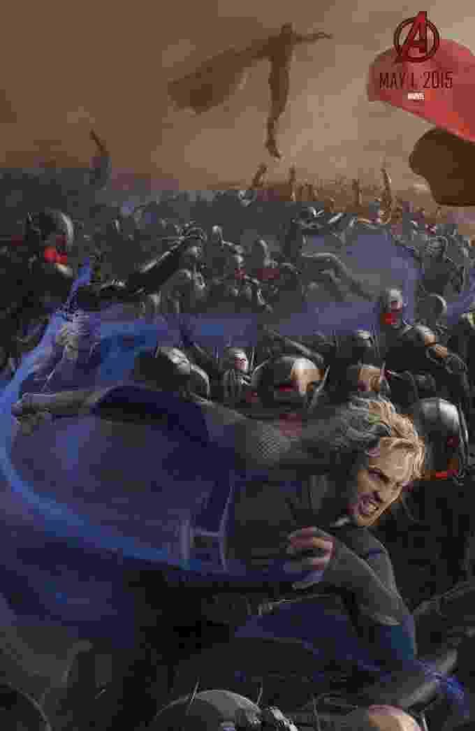 """O mutante Mercúrio entra em ação no pôster com arte conceitual de """"Os Vingadores: A Era de Ultron"""", exclusivo para a Comic-Con 2014. Ao fundo, o andróide Visão observa o combate - Reprodução"""