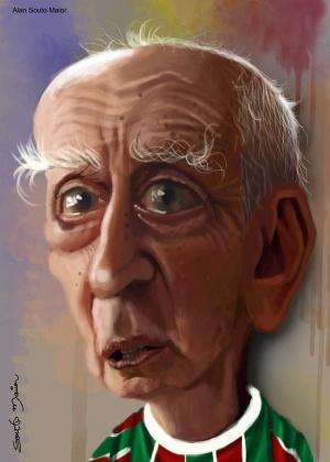 """Caricatura de Millôr Fernandes, criada por Alan Souto Maior para a exposição """"Ao Millôr com Humor"""", em 2012 - Alan Souto Maior"""