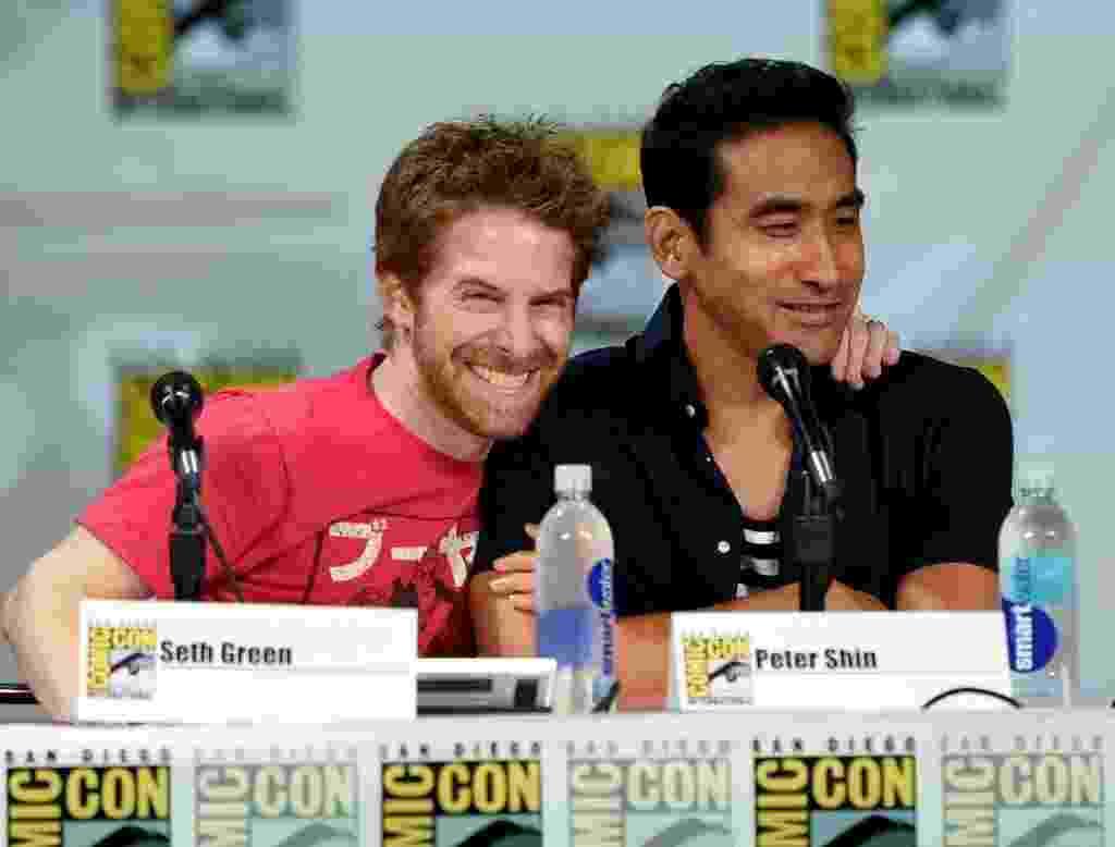 "25.jul.2014 - Seth Green e Peter Shin em painel de ""Família da Pesada"" na Comic-Con - Ethan Miller/AFP"