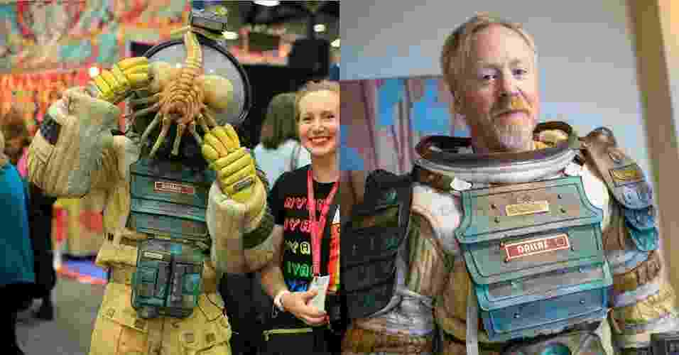 """26.jul.2014 - O apresentador do programa """"Mythbusters"""" Adam Savage se veste como astronauta atacado por """"facehugger"""" da série cinematográfica """"Alien"""" na Comic-Con - Reprodução/Twitter/CandiceSD e Reprodução/Norman Chan/Tested.com"""