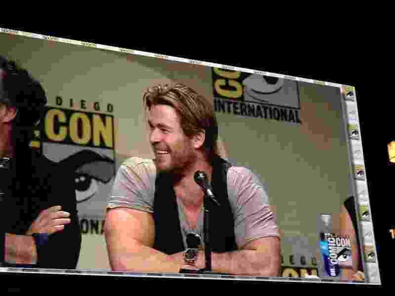 """26.julho.2014 - Chris Hemsworth, que interpreta Thor em """"Os Vingadores: A Era de Ultron"""", está no painel da Marvel na Comic-Con - Natalia Engler/UOL"""
