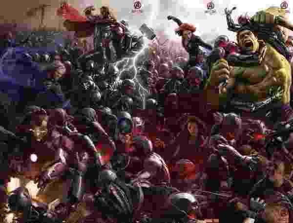 """A revista """"Empire"""" colocou lado a lado os pôsteres do filme """"Os Vingadores 2"""" que a Marvel divulgou na Comic-Con; veja como ficaram os Vingadores unidos. O filme estreia em 1º de maio de 2015. - Reprodução"""