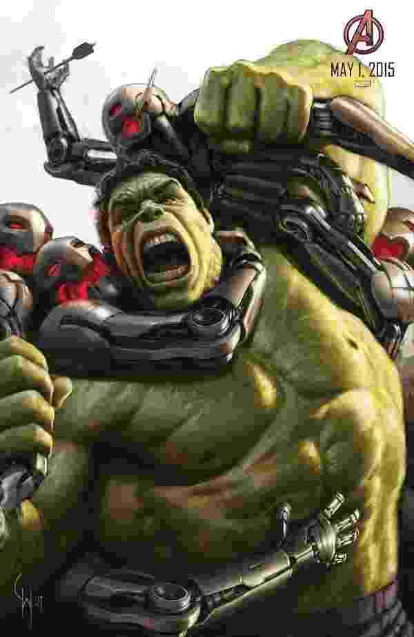 """O gigante esmeralda Hulk esmaga tudo em pôster de """"Os Vingadores 2"""" na San Diego Comic-Con 2014 - Divulgação"""