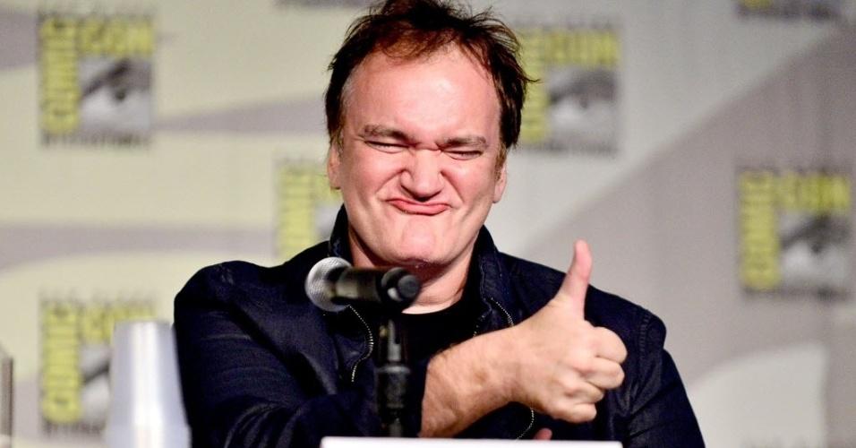 """27.jul.2014 - Quentin Tarantino no painel da HQ """"Django/Zorro"""" na San Diego Comic-Con. O diretor também confirmou que vai filmar """"Hatefull Eight"""", longa do qual tinha desistido depois que seu roteiro vazou na internet"""