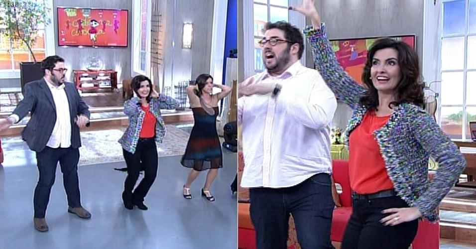 """28.jul.2014 - Fátima Bernardes mostrou a sua desenvoltura ao dançar o hit """"Dançando"""", de Ivete Sangalo. A apresentadora provou que sabe os passos da coreografia e arrancou elogios de seus convidados em um game de dança. """"Tá bom, né?"""", disse ela, para surpresa do público"""