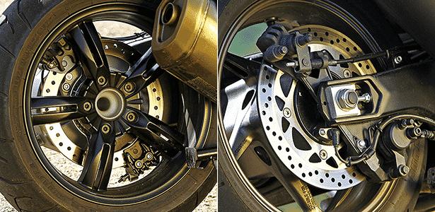 Rodas traseiras de BMW C Sport 600 e Yamaha TMax 530 - Arte UOL Carros - Arte UOL Carros