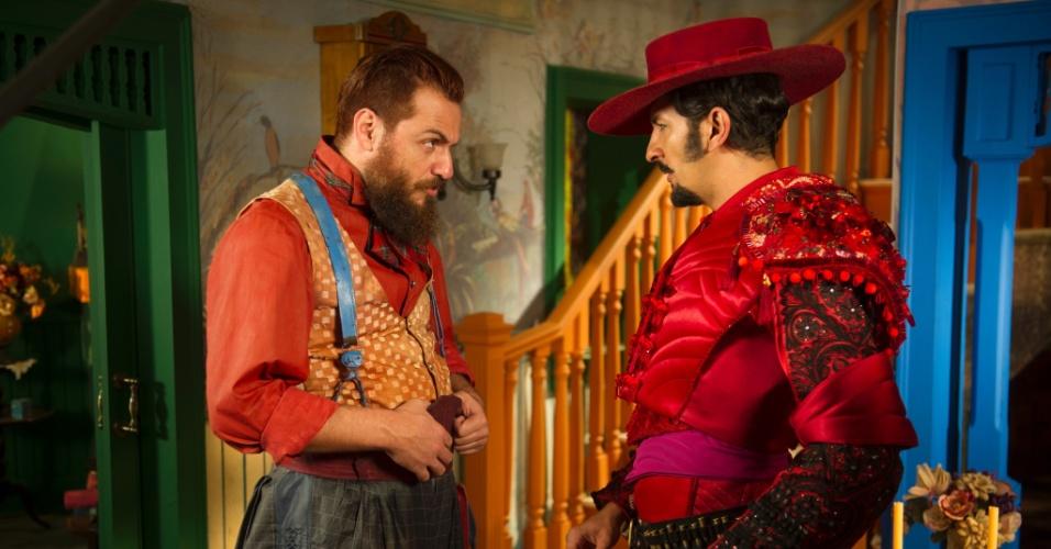 """Zelão (Irandhir Santos) e Pedro Falcão (Rodrigo Lombardi) em """"Meu Pedacinho de Chão"""""""