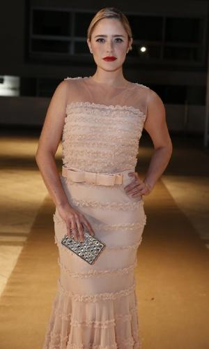 28.jul.2014 - Fernanda Vasconcellos usa um vestido nude para a 16ª edição do Prêmio Contigo! de TV, realizado no hotel Copacabana Palace, no Rio