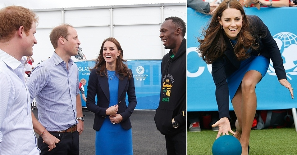 29.jul.2014 - Os príncipes Harry e William e a duquesa de Cambridge, Kate Middleton conversam com o atleta Usain Bolt nos Jogos da Amizade, em Glasgow, Escócia
